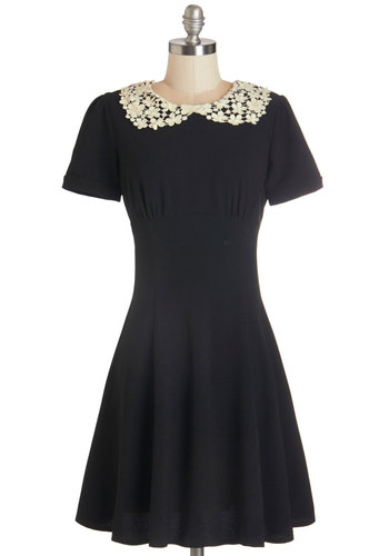 TA-mazing Dress - Woven, Black, Solid, Crochet, Casual, A-line, Short Sleeves, Better, Collared, Tan / Cream, Peter Pan Collar, Mid-length