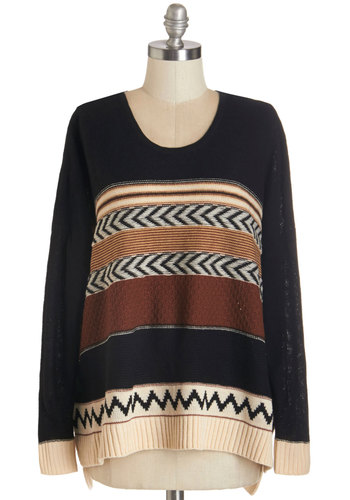 Cause for Casual Sweater - Knit, Black, Brown, Tan / Cream, Chevron, Casual, Long Sleeve, Fall, Black, Long Sleeve, Scoop