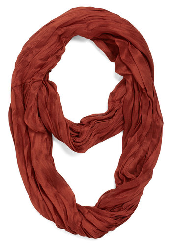 Brighten Up Circle Scarf in Rust - Solid, Boho, Urban, Scholastic/Collegiate, Nifty Nerd, Festival, Fall, Winter, Woven, Red, Variation