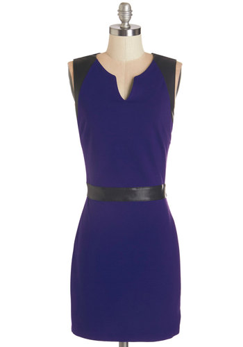 Revered Remixologist Dress by Jack by BB Dakota - Blue, Black, Trim, Party, Work, Shift, Sleeveless, Fall, Faux Leather, Better, V Neck, Knit, Mid-length