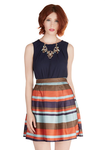 Oh So Simply Skirt - Fall, Better, Blue, Woven, Stripes, Work, A-line, Multi, Pleats, Daytime Party, Short