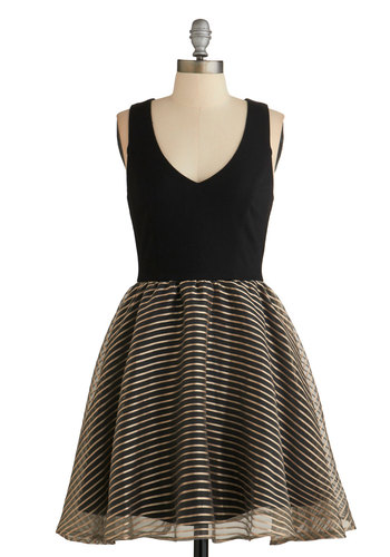 Jolt of Jazz Dress - Black, Gold, Stripes, Party, Fit & Flare, Better, V Neck, Sleeveless, Twofer, Holiday Party