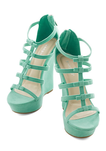 Ice Cream Social Butterfly Wedge - High, Mint, Solid, Bows, Prom, Wedding, Party, Girls Night Out, Daytime Party, Good, Wedge, Strappy, Statement, Platform