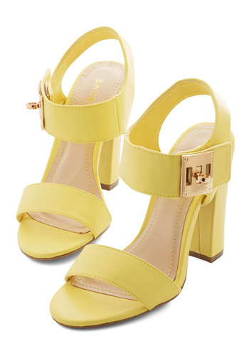 Kick Me I'm Dreaming Heel - High, Faux Leather, Yellow, Solid, Buckles, Party, Girls Night Out, Daytime Party, Urban, Good, Chunky heel