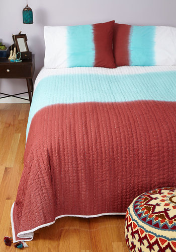 Home Sweet Ombre Quilt Set in Queen by Karma Living - Cotton, Woven, Multi, Boho, Colorblocking, Best, Red, Blue, White, Ombre