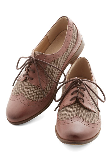 Career as Day Flat by Restricted - Low, Brown, Solid, Work, Menswear Inspired, Vintage Inspired, 20s, Better, Lace Up