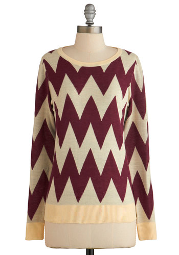 Zigzagology Sweater - Multi, Red, Tan / Cream, Chevron, Casual, Long Sleeve, Fall, Multi, Long Sleeve, Knit, Mid-length, Print