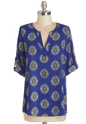 Creative Solutions Top - Chiffon, Woven, Blue, Print, Work, Boho, Long Sleeve, Blue, Tab Sleeve, Festival, Mid-length