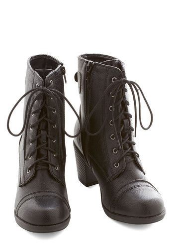 For All I Karaoke Boot - Mid, Faux Leather, Black, Solid, Military, Urban, Good, Lace Up