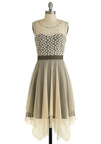 Chim Chim Chimerical Dress by Ryu - Cream, Brown, Lace, Party, A-line, Sleeveless, Better, Knit, Tulle, Handkerchief