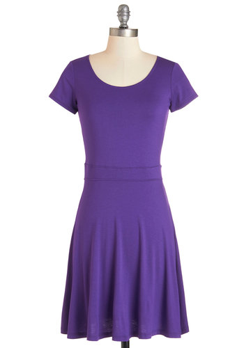 Practice Partner Dress - Purple, Solid, Casual, A-line, Knit, Good, Scoop, Jersey, Minimal, Short Sleeves, Basic, Mid-length