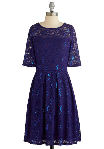 Indigo All Out Dress - Blue, Solid, Lace, Sequins, Party, A-line, Short Sleeves, Better, Scoop, Mid-length, Holiday Party, Special Occasion, Press Placement, Top Rated