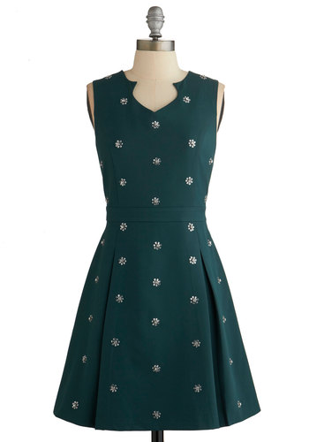 Clustered Luster Dress - Green, Solid, Pleats, Rhinestones, Party, A-line, Sleeveless, Better, Mid-length, Holiday Party, Special Occasion, Press Placement