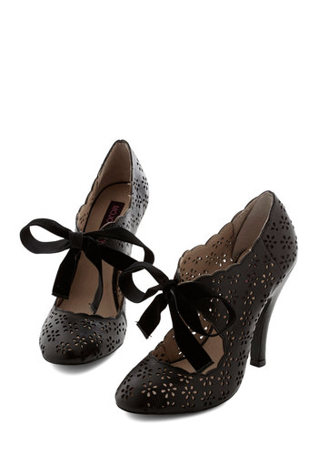 Cutie Alert Heel in Black - High, Leather, Black, Solid, Cutout, Prom, Party, Vintage Inspired, 20s, Darling, Better, Variation, Halloween