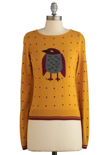 Winning Warbler Sweater by Yumi - Yellow, Long Sleeve, Yellow, Print with Animals, Critters, Long Sleeve, Fall, Multi, Polka Dots, Casual, Bird, Knit, Mid-length