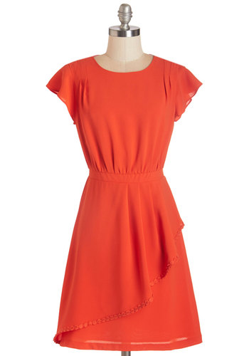 Bold in the Boardroom Dress - Red, Party, Work, A-line, Cap Sleeves, Woven, Better, Scoop