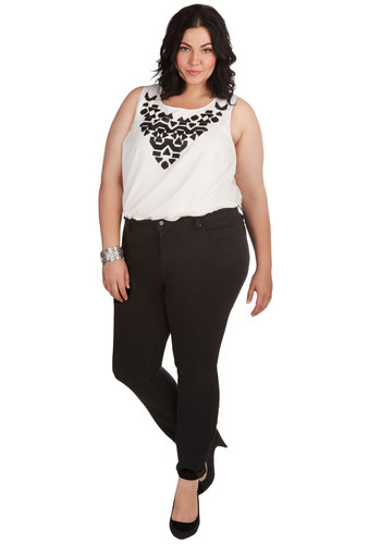 Find Me at Center Stage Pants in Plus Size - Denim, Black, Solid, Pockets, Casual, Skinny, Basic