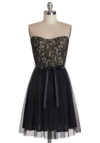 Noir Narrative Dress - Lace, Belted, Special Occasion, Prom, A-line, Strapless, Woven, Good, Sweetheart, Tulle, Mid-length, Lace, Black, Tan / Cream, Cocktail, Full-Size Run, Party, Homecoming