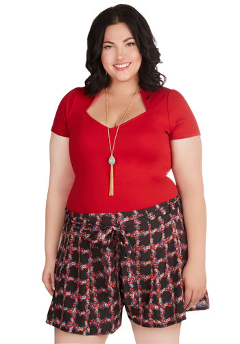All Too Adorable Shorts in Plus Size - Woven, Multi, Red, Black, Print, Belted, Casual, Summer
