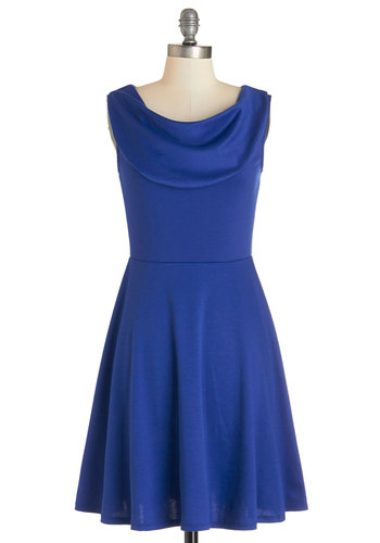 Everyday Accolades Dress in Cobalt - Knit, Blue, Solid, Party, A-line, Sleeveless, Good, Cowl, Variation, Full-Size Run, Top Rated, Press Placement, Mid-length, Exclusives