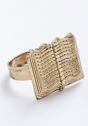 Carefree Verse Ring - Solid, Boho, Quirky, Scholastic/Collegiate, Nifty Nerd, Gold, Under $20