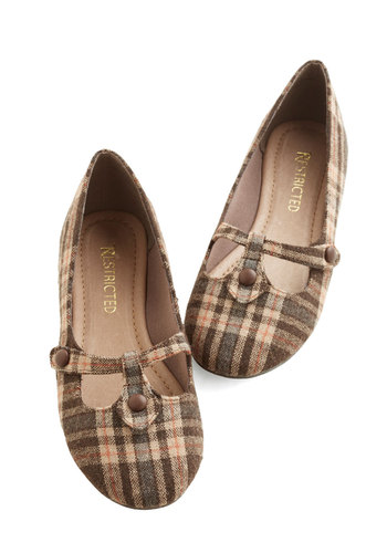 Step Out to Study Flat in Brown by Restricted - Flat, Woven, Brown, Tan / Cream, Plaid, Buttons, Casual, Better, Variation, Scholastic/Collegiate