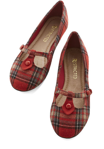 Step Out to Study Flat in Red by Restricted - Flat, Woven, Plaid, Buttons, Casual, Scholastic/Collegiate, Better, Variation, Red
