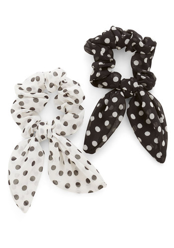 Sock Hop Sweetie Hair Tie Set - White, Polka Dots, Vintage Inspired, Black, 50s, 60s, Variation