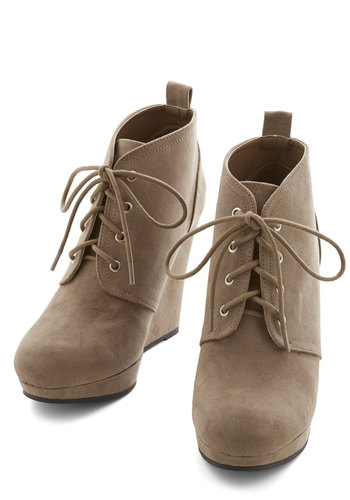 Live Local Artist Bootie in Taupe - High, Tan, Solid, Casual, Good, Wedge, Lace Up, Variation, Platform