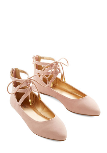 Refined Stride Flat - Pink, Solid, Cutout, Wedding, Party, Daytime Party, Darling, Good, Lace Up, Strappy, Fairytale, Pastel
