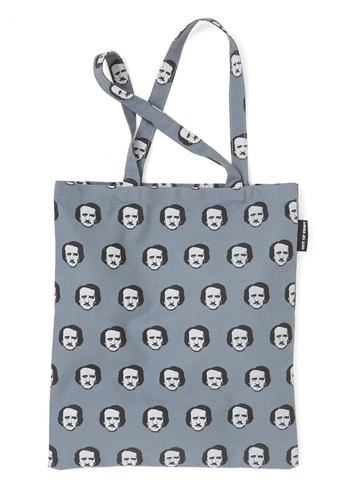 Edgar Allan Stow Tote by Out of Print - Grey, Urban, Scholastic/Collegiate, Nifty Nerd, Woven, Novelty Print, Quirky, Fall, Halloween