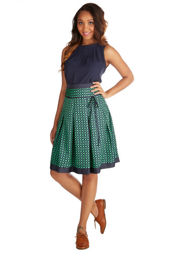 Pass Me the Mic Skirt - Good, Blue, Mid-length, Woven, Other Print, Work, A-line, Green, Blue, Print, Pleats