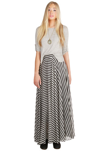 Breeze by the Bookstore Skirt - Maxi, Spring, Summer, Better, Black/White, Chiffon, Woven, Stripes, Black, White, Casual, Long