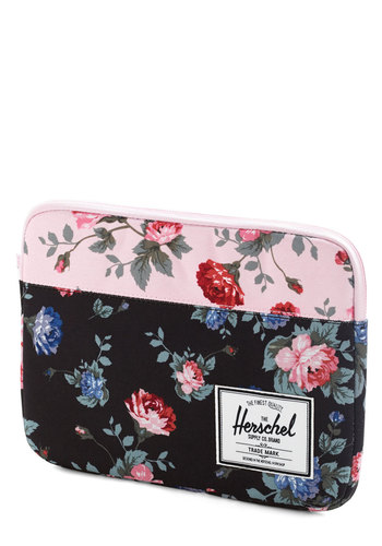 On a Flower Trip iPad Air Sleeve by Herschel Supply Co. - Black, Multi, Floral, Travel, Pink