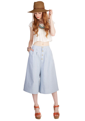 Swinging in the Sun Culottes Pants by Kling - Better, High Rise, Capri, Blue, Non-Denim, High Waist, Cropped, Wide Leg, Cotton, Woven, Blue, White, Stripes, Buttons, Pockets, Vintage Inspired, 60s, Summer