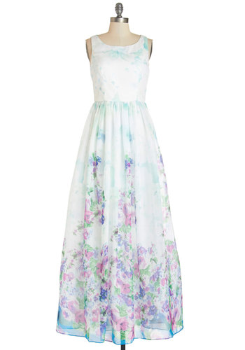 Wall of Flowers Dress - Multi, Floral, Backless, Daytime Party, Pastel, Maxi, Sleeveless, Summer, Woven, Better, Scoop, Chiffon, Fairytale, Long