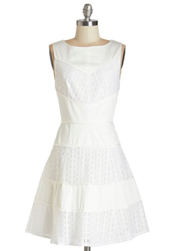 Here Comes the Bright Time Dress - White, Solid, Lace, Daytime Party, Graduation, A-line, Sleeveless, Summer, Woven, Better, Boat, Mid-length, Cotton, Lace, Exposed zipper