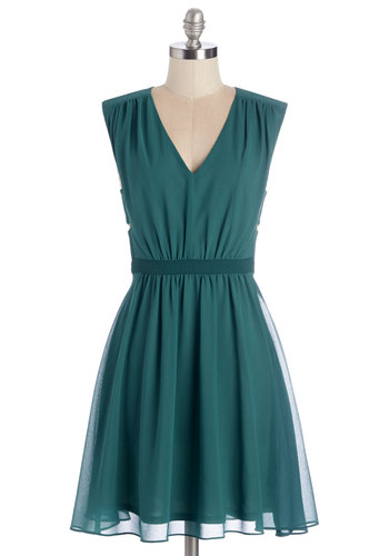 Have You Verdant? Dress - Green, Solid, Cutout, Party, Girls Night Out, A-line, Sleeveless, Fall, Woven, Better, V Neck, Mid-length