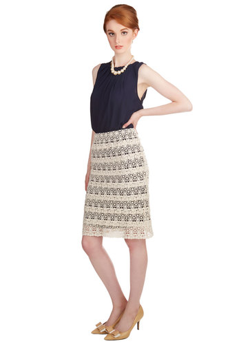 First Day of Work It Skirt - Pencil, Better, White, Cotton, Knit, Crochet, Boho, Spring, Summer, Cream, Blue, Work, Daytime Party, Knee