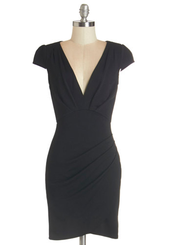 The Mingle Life Dress in Black - Black, Solid, Party, Girls Night Out, Cap Sleeves, Fall, Knit, Good, V Neck, Ruching, Cocktail, LBD, Mid-length, Sheath