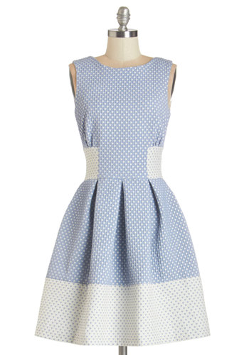 Studying Fine Hearts Dress by Closet London - Blue, White, Novelty Print, Pleats, A-line, Sleeveless, Summer, Woven, Better, Scoop, Backless, Exposed zipper, Pockets, Daytime Party