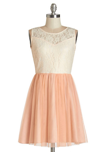 Everything's Peachy Dress - Tan / Cream, Blush, Backless, Lace, Party, A-line, Sleeveless, Woven, Good, Scoop, Tulle, Lace, Pastel, Prom, Valentine's, Homecoming