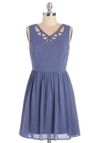 Ready, Set, Go-Kart Dress - Blue, Solid, Cutout, Casual, A-line, Sleeveless, Summer, Woven, Good, V Neck
