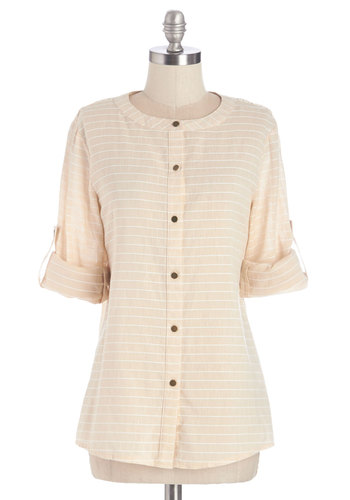Reward Your Work Top - Sheer, Woven, Cream, Stripes, Buttons, Crochet, Work, Long Sleeve, White, Tab Sleeve, Casual