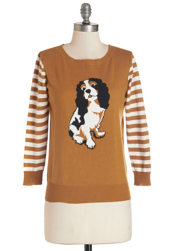 Dog Park Party Sweater - Yellow, White, Print with Animals, Casual, Critters, Dog, Long Sleeve, Fall, Yellow, Long Sleeve, Stripes, Cotton, Knit, Mid-length, Quirky, Top Rated