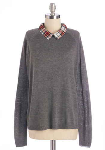 I'm Plaid You Asked Top - Grey, Red, White, Solid, Plaid, Casual, Long Sleeve, Fall, Collared, Grey, Long Sleeve, Scholastic/Collegiate, Mid-length