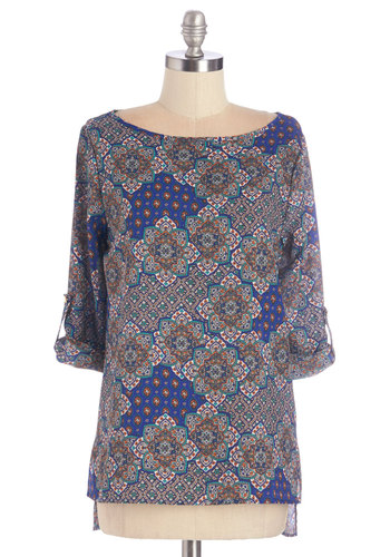 Get Up and Grow Top - Woven, Blue, Print, Work, 3/4 Sleeve, Grey, 3/4 Sleeve, Multi, Grey