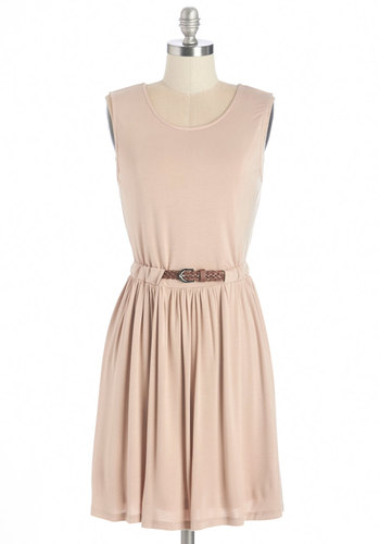 Sand Ol' Time Dress - Tan, Solid, Belted, Casual, A-line, Sleeveless, Knit, Good, Scoop, Jersey