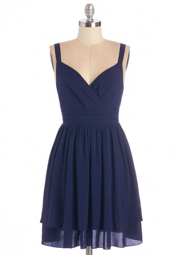 Elegant at Evenfall Dress - Blue, Solid, Pleats, Casual, Nautical, Americana, A-line, Sleeveless, Fall, Woven, Good, V Neck, Daytime Party, Short