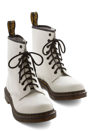Playing Air Guitar Boot in White by Dr. Martens - White, Yellow, Black, 90s, Lace Up, Low, Scholastic/Collegiate